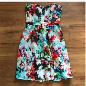 Parker Lily Strapless Floral Dress Size S